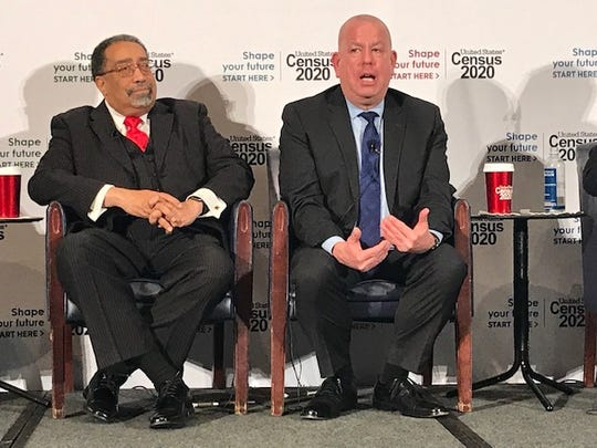 Albert Fontenot (left) and Timothy Olson (right) discuss Census Bureau outreach efforts for the 2020 population count at a press conference April 1, 2019 at  the National Press Club.