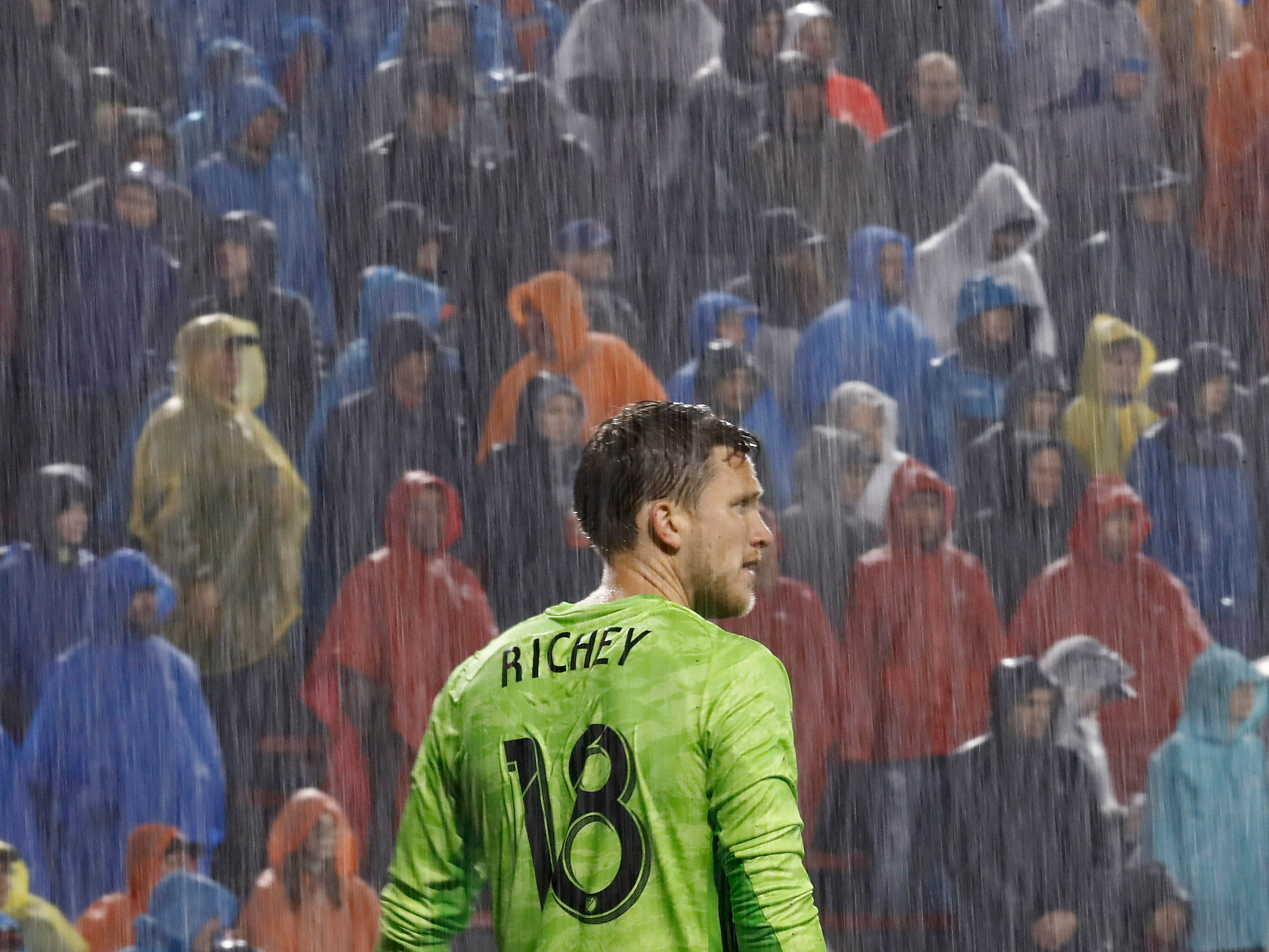 March 30: FC Cincinnati goalkeeper Spencer Richey stands in net as the rain falls in the game against the Philadelphia Union in the first half at Nippert Stadium. Philadelphia won the game, 2-0.