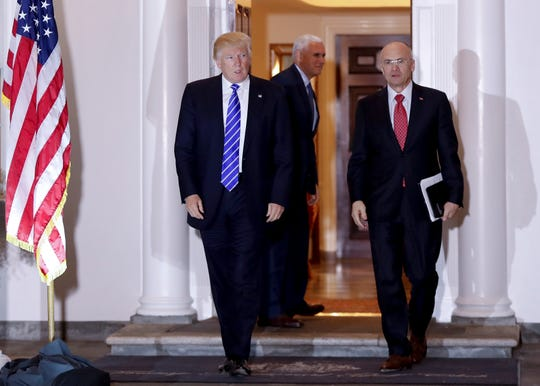 President-elect Donald Trump and Andy Puzder, whom he'd nominate to be Labor secretary, in Bedminster, New Jersey, on Nov. 19, 2016.