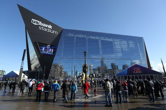 U.S. Bank Stadium in Minneapolis played host to the Super Bowl last yera and will be the site of the NCAA Final Four this weekend.