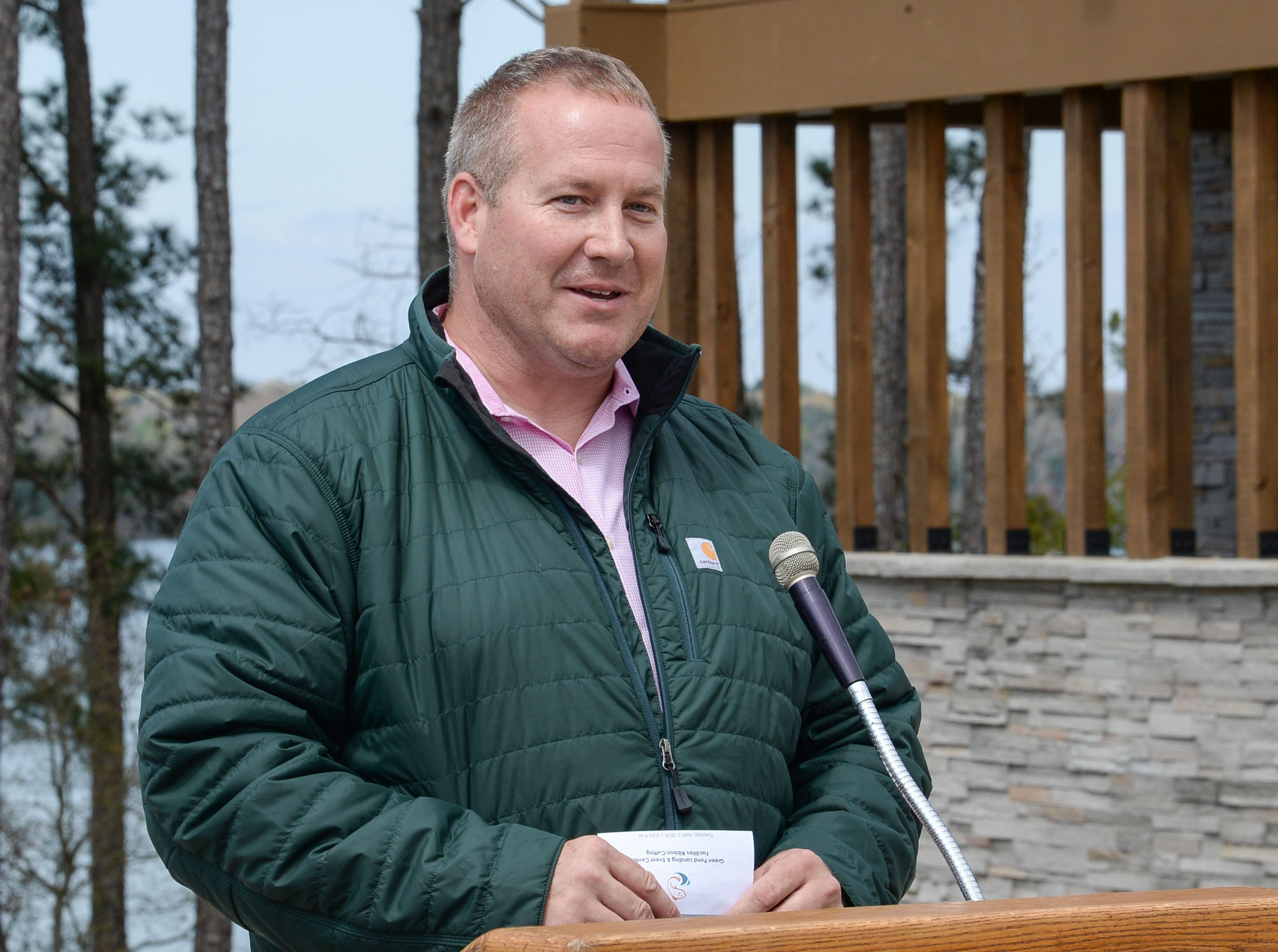 Matt Schell,  Anderson County Parks Department Manager,  speaks during the Green Pond Landing & Event Center Facilities ribbon cutting event in Anderson Tuesday.