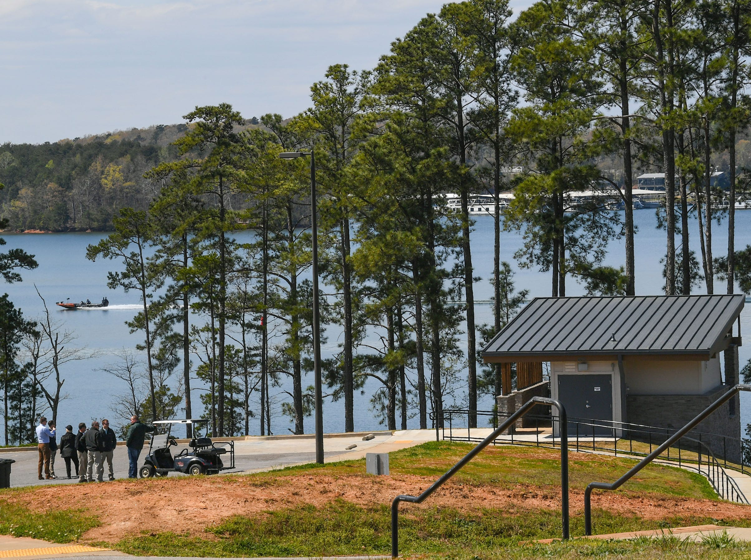 The Green Pond Landing & Event Center Facilities, with ADA compliant restrooms and ramps, opened with a ceremony in Anderson County Tuesday. The Hartwell Lake boat landing opened in 2014, adding the bathrooms as the second phase of construction for $425,000, with an amphitheater soon to be built by the county next to it, says administrator Rusty Burns.