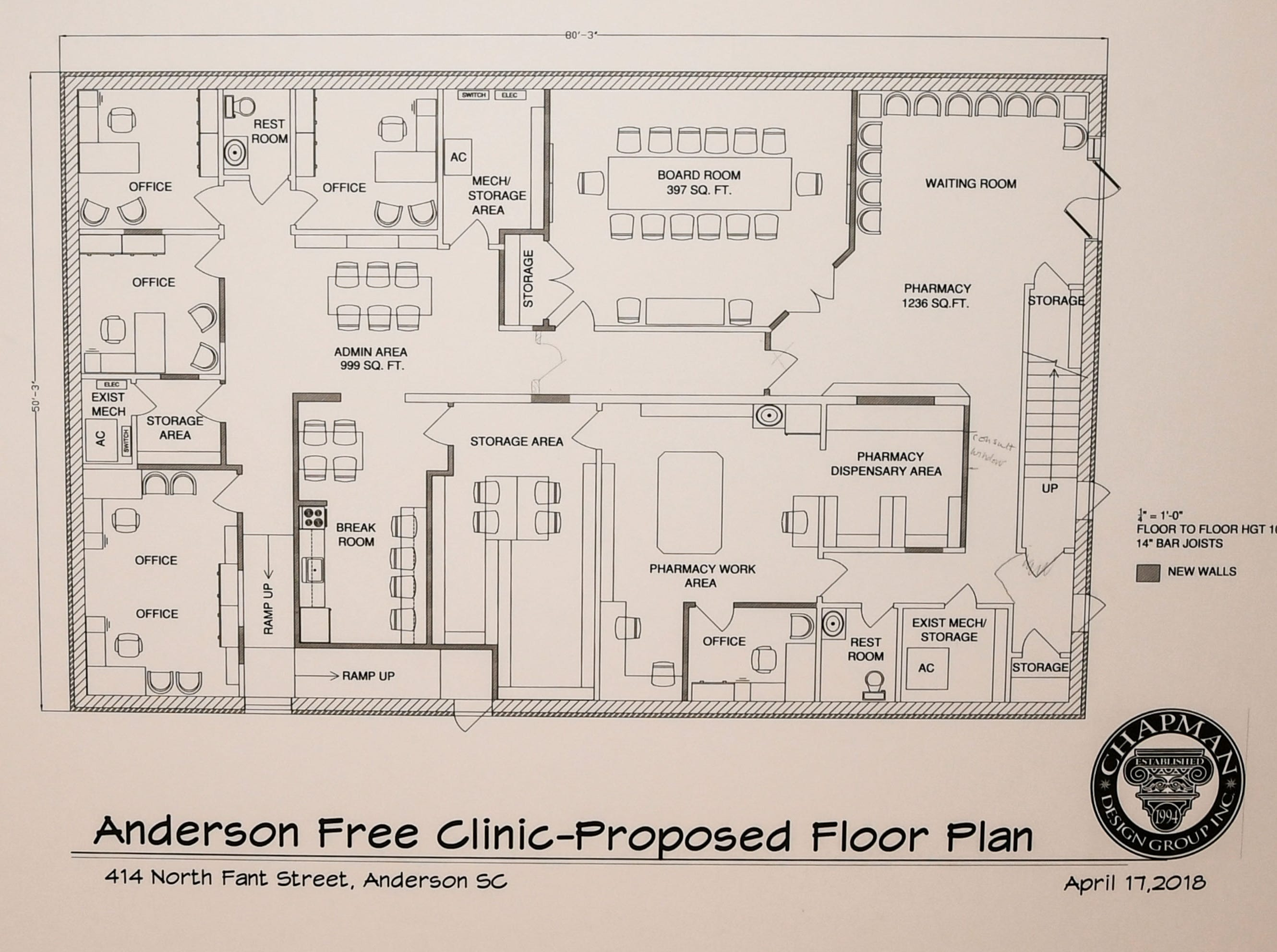 Anderson Free Clinic has a proposed renovation for the first floor to bring the pharmacy closer to the entrance.