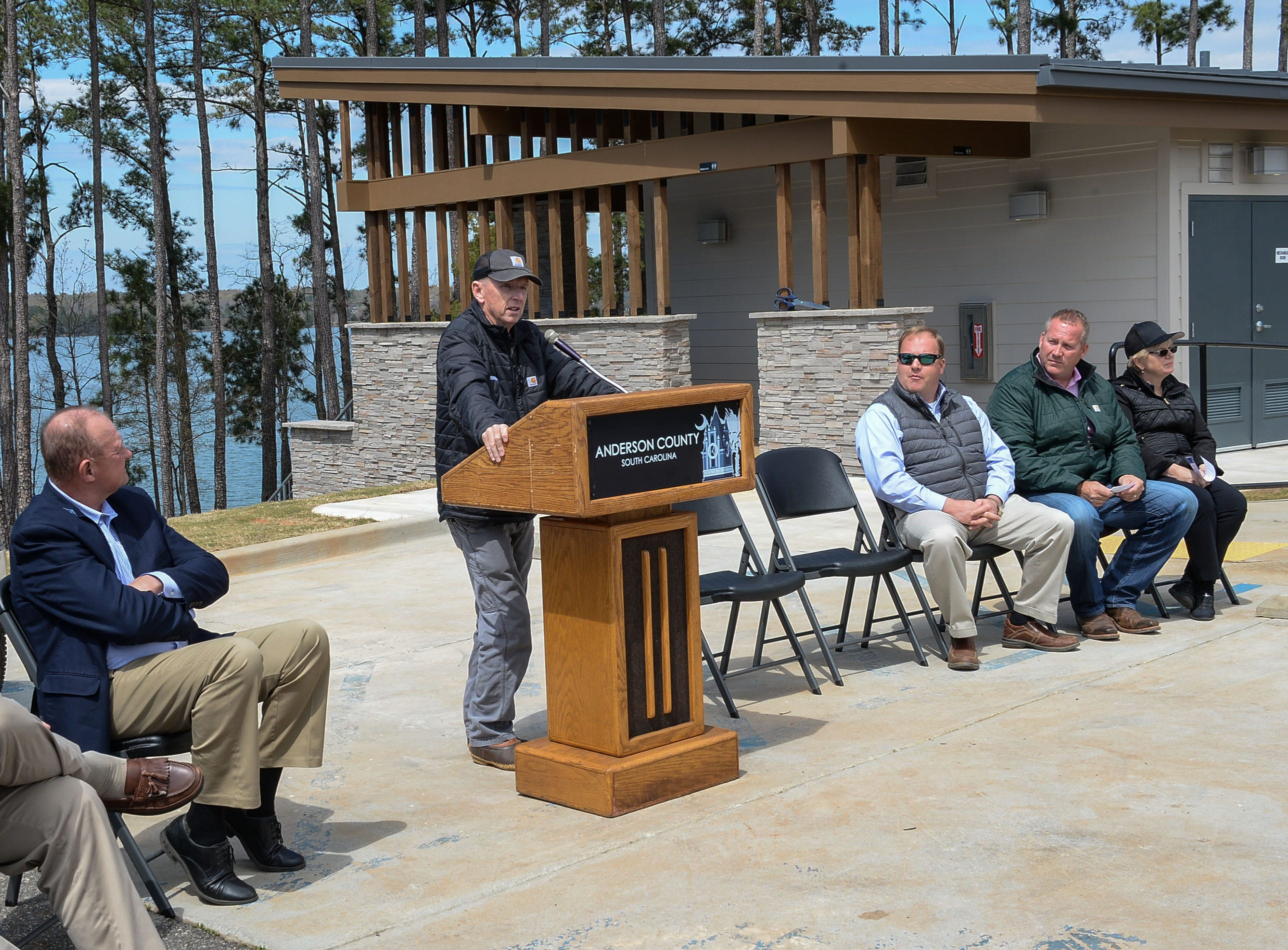 Trip Wheldon of B.A.S.S. Tournament Director, speaks during the Green Pond Landing & Event Center Facilities ribbon cutting event in Anderson Tuesday. The BASSMASTER Elite series event starts Thursday, April 4 and lasts through April 7.