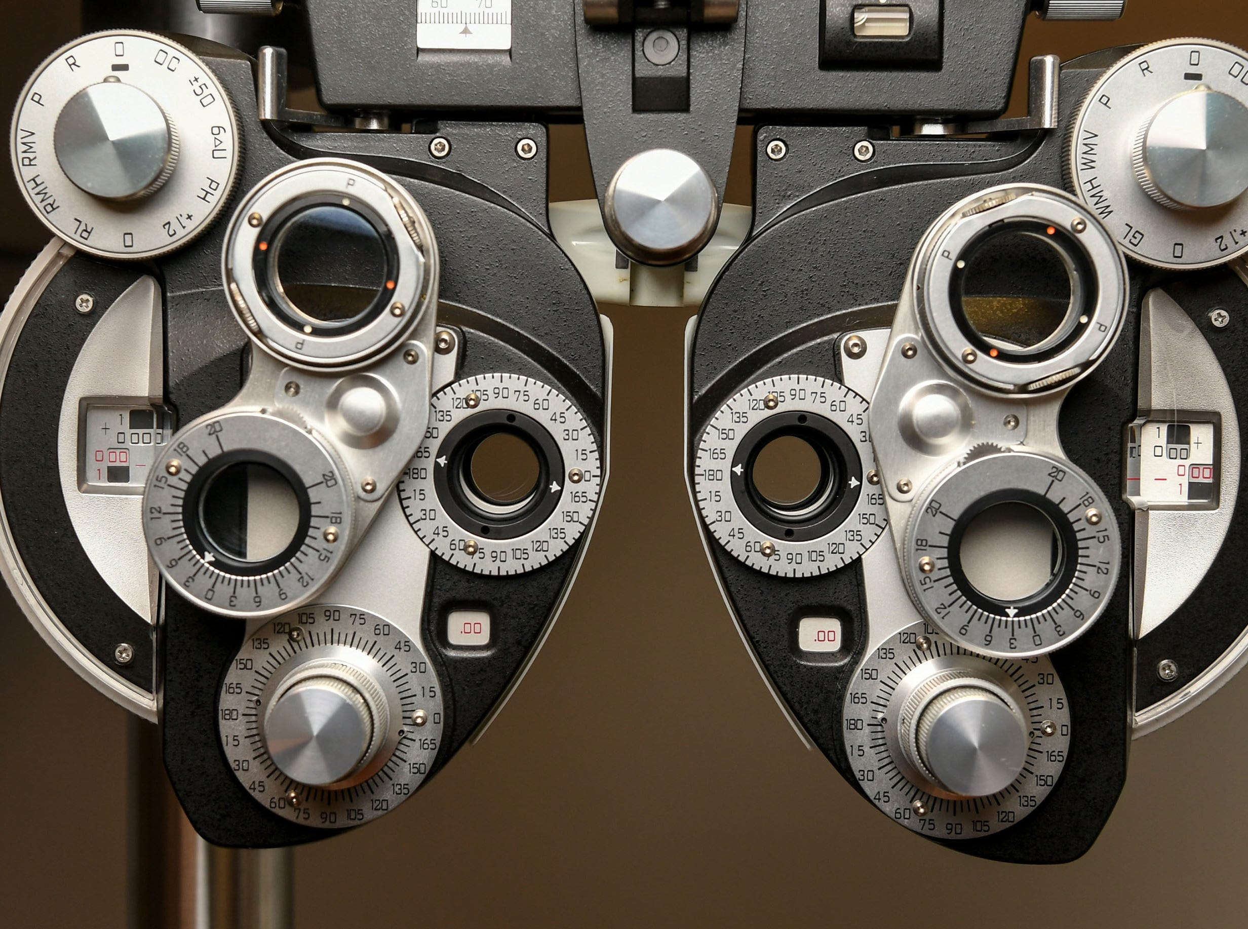 Anderson Free Clinic added eye care with Dr. Jim Chamberlain, who uses a phoropter as one of his tools to check vision.