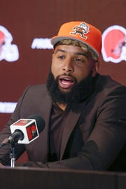 Browns wide receiver Odell Beckham Jr. answers questions during a news conference Monday.