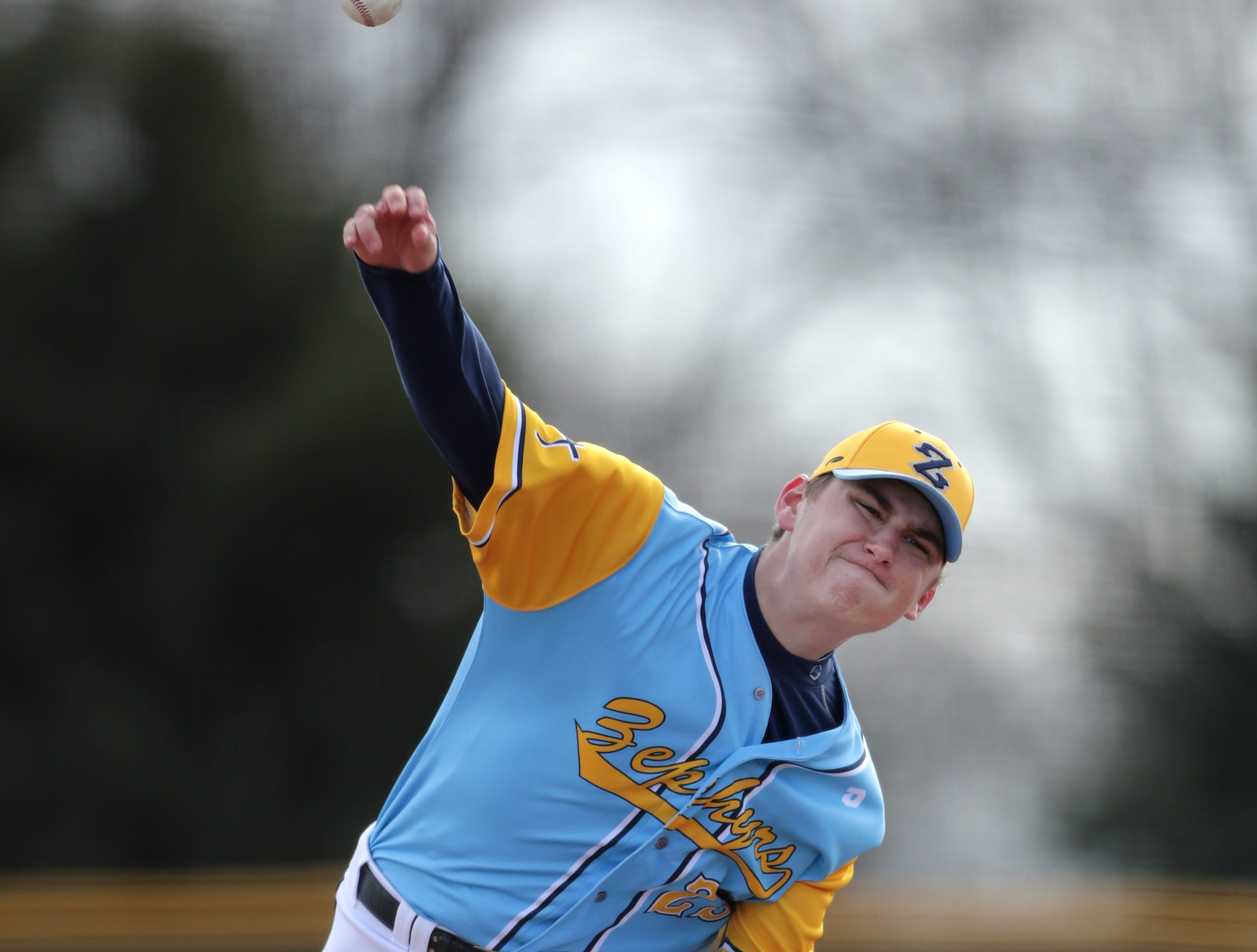 St. Mary Catholic High School's starting pitcher #23 Caden Uhlenbrauck delivers against Little Chute High School during their baseball game on Friday, March 29, 2019, in Neenah, Wis. Little Chute defeated St. Mary Catholic 2 to 1.Wm. Glasheen/USA TODAY NETWORK-Wisconsin.