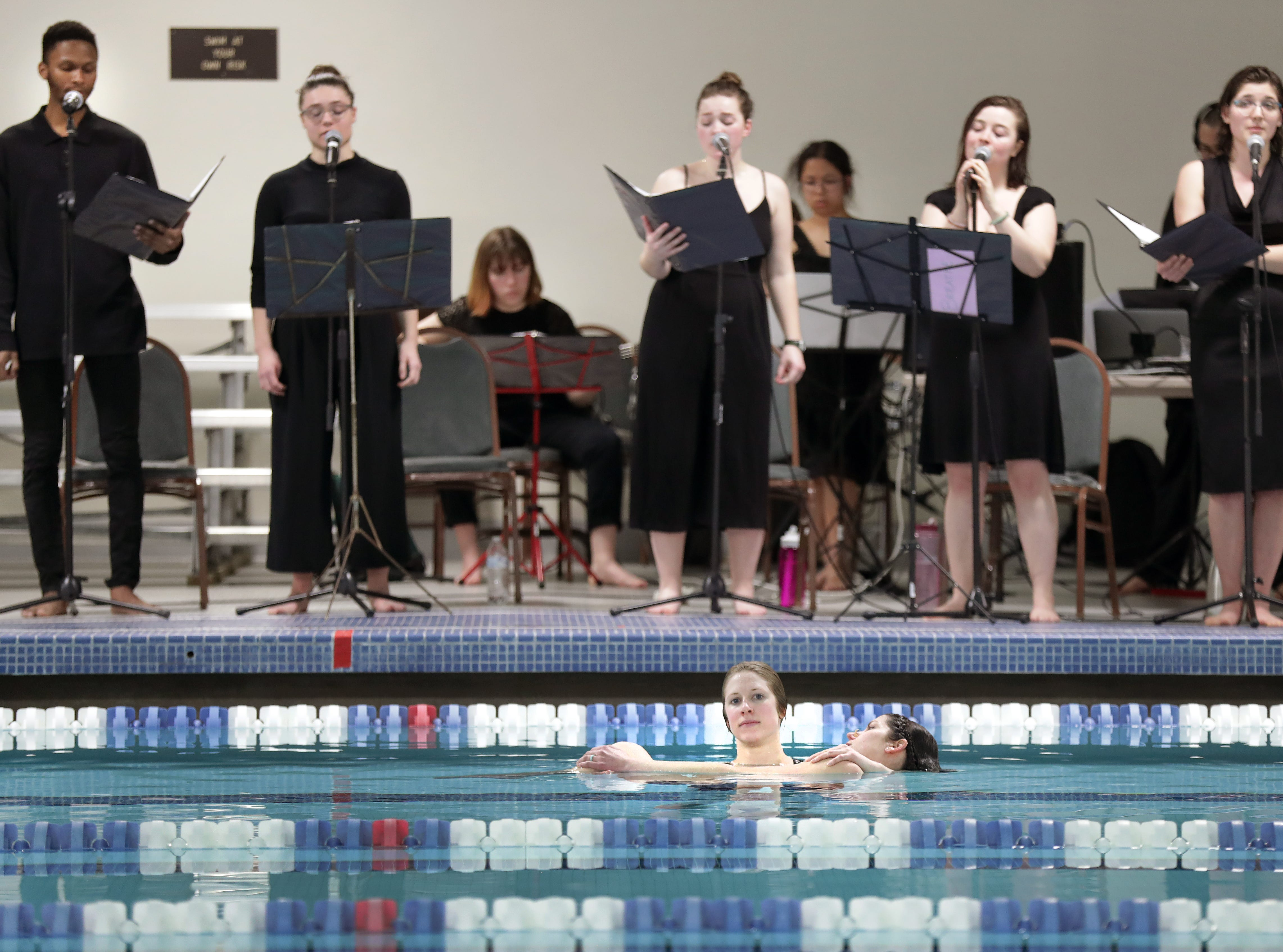 """Rehearsal of """"Breathe: a multi-disciplinary water opera"""" at Lawrence Universty  on Wednesday, March 27, 2019, in Appleton, Wis. will be presented at 8 p.m. March 30 and 31 at LUÕs Buchanan Kiewit Wellness Center pool. Admission is free but reservations are requiredWm. Glasheen/USA TODAY NETWORK-Wisconsin."""