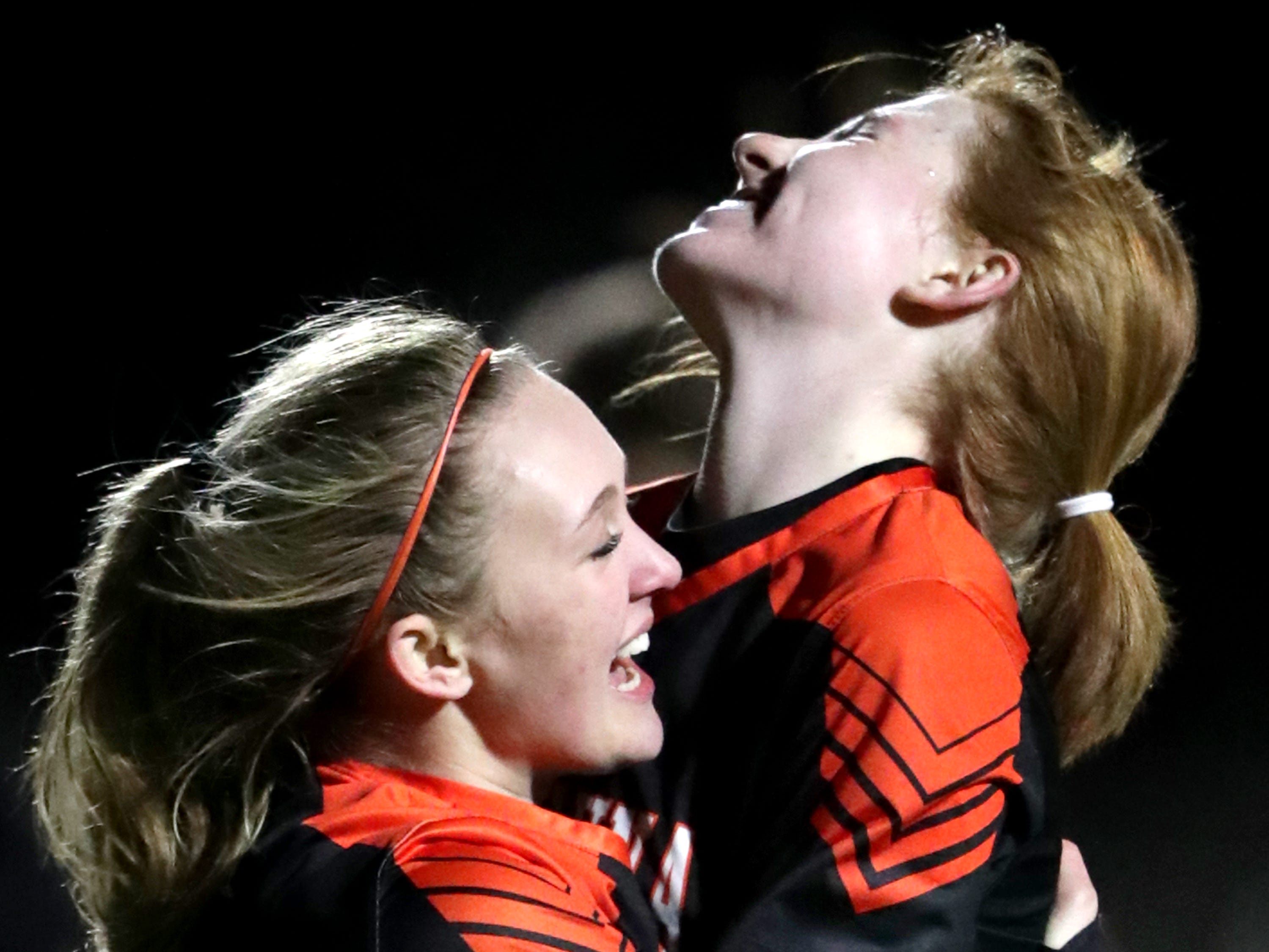 Kaukauna High School's #6 Meredith Schaller, left, and #13 Caitlyn  D'Amico against Clintonville High School during their girls soccer game on Thursday, March 27, 2019, in Kaukauna, Wis. Kaukauna defeated Clintonville 10 to 0.Wm. Glasheen/USA TODAY NETWORK-Wisconsin.