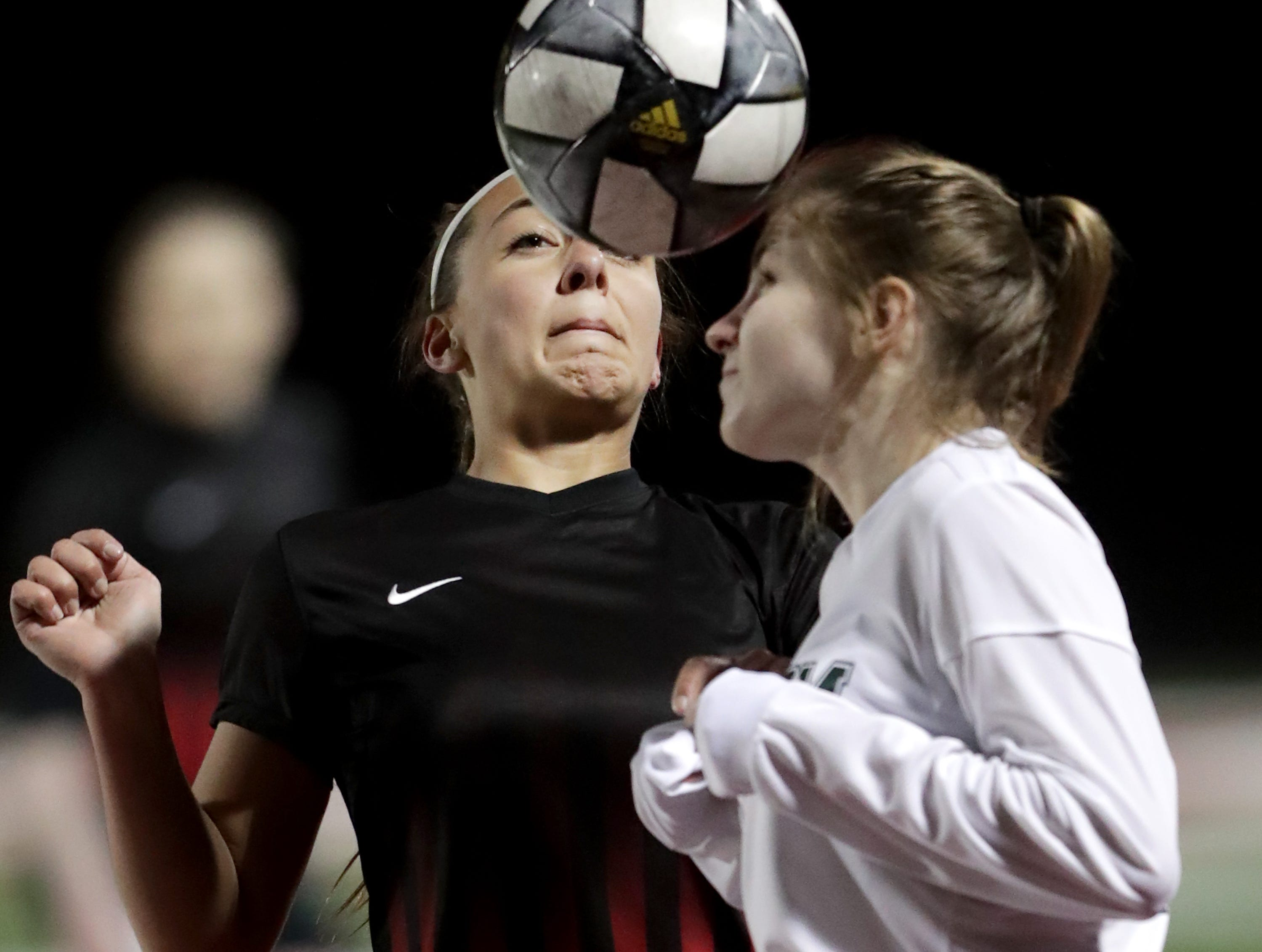 Hortonville High School's #21 McKenna Gervais against Freedom High School's #16 Paige Dollevoet during their girls soccer game on Tuesday, March 26, 2019, in Hortonville, Wis. Freedom defeated Hortonville 3 to 0.Wm. Glasheen/USA TODAY NETWORK-Wisconsin.