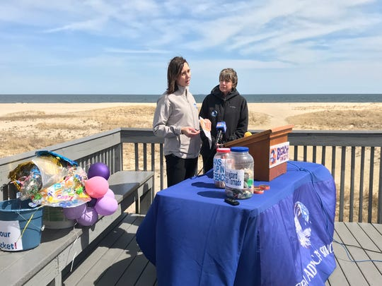 Alison McCarthy, left, and Cindy Zipf, discuss the findings of Clean Ocean Action's 2018 Beach Sweeps, a semi-annual program where volunteers pick up and catalog litter and debris from beaches on the Jersey Shore.