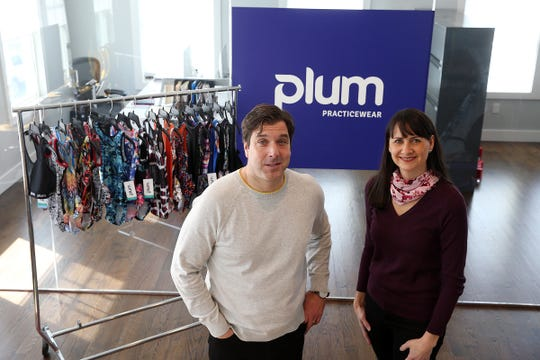 Keith and Debra Rizzi, owners of Plum Practicewear, an online retailer of gymnastics and dance apparel that was established in 2009, display some of their products at their office in Spring Lake Heights, NJ Tuesday, April 2, 2019.