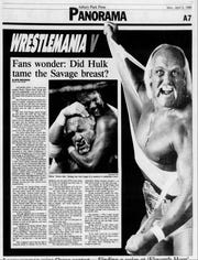 The April 3, 1989, edition of the Asbury Park Press covered the previous day's WrestleMania V in Atlantic City.