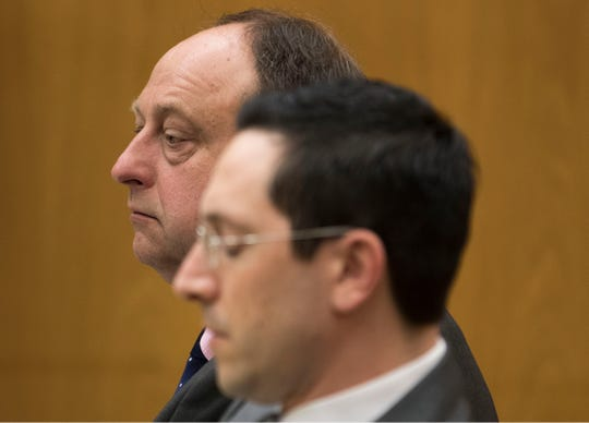 Conrad Sipa listens to testimony during the trial. Murder trial of Conrad Sipa, 52, of Colts Neck, who is charged with killing Richard Doody, a retired FDNY firefighter. Sipa is accused of using a knife, golf club and ceramic lamp to murder Richard Doody Jr. at his home in Barnegat Light.        