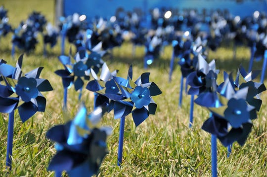 The Alpha Phi Omega service fraternity set up 428 blue pinwheels at South 14th Street and Sayles Boulevard on Sunday, March 31, 2019, to kick off Child Abuse Prevention Month in April. The pinwheels represent the average number of children in substitute care in Taylor County each month.