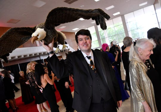 """Blake Norvell brought his mother Margaret (right) and a plush bald eagle to Saturday's gala premiere of """"Brother's Keeper"""" at the Abilene Convention Center. Norvell is depicted in the movie as the attorney for player Herschel Sims' mother."""