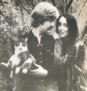"Stanley Wilson with Shelley Duvall and a cat named Hilo in a photo taken for People magazine in March 1981. They met on the set of ""Popeye,"" and were together for several years. Both were from Texas."