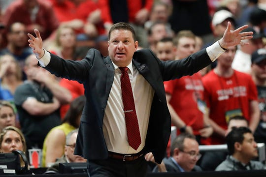 Texas Tech coach Chris Beard shouts during the second half of the team's West Regional final against Gonzaga on Saturday in Anaheim, Calif.