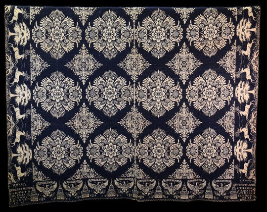 The 1858 coverlet in the Broome County Historical Society's collection.