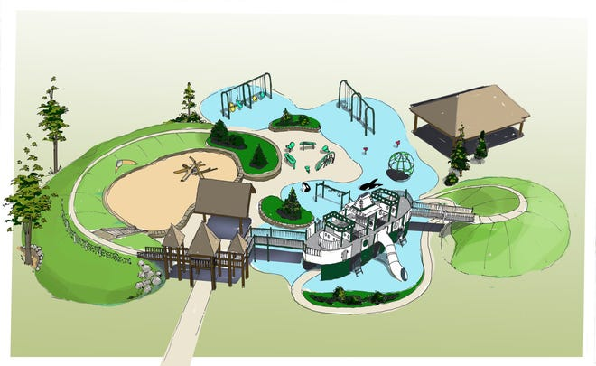 A rendering of the planned layout of the playground at Battle Point Park on Bainbridge Island.