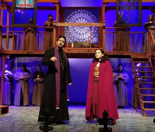 Claude Frollo (Adam Somers) and Esmerelda (Dalton Alden-Welfl Brillhart).