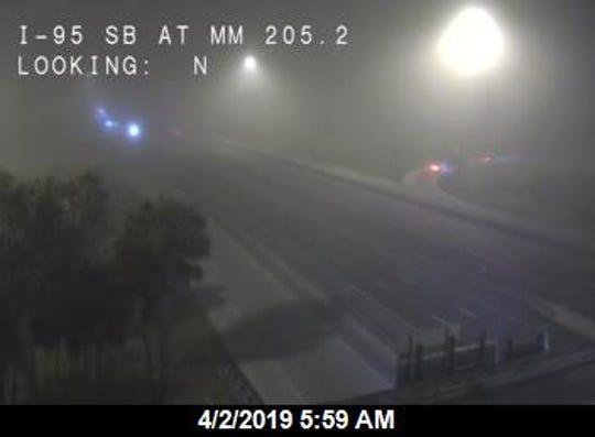 Fog along Interstate 95 April 2, 2019.