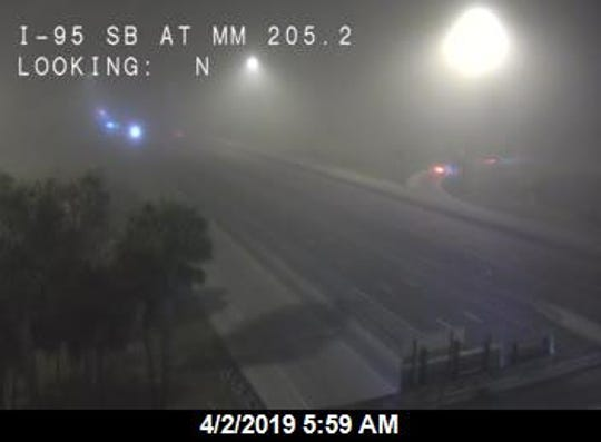 Fog along Interstate 95 April 2, 2019.