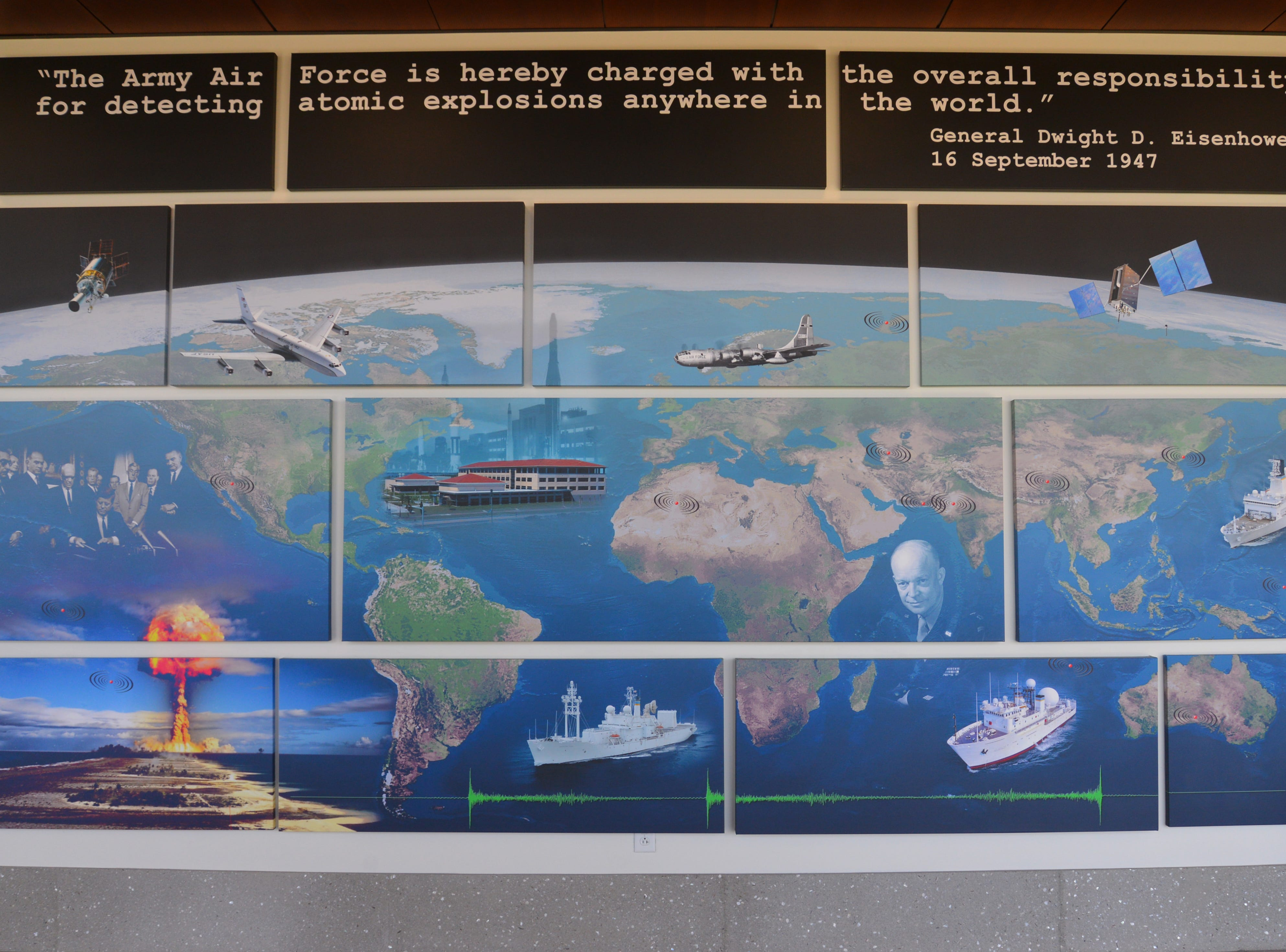 This mural inside an AFTAC ground-floor hallway depicts the surveillance organization's mission detecting nuclear explosions around the world.