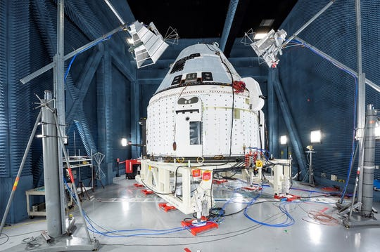 Boeing's CST-100 Starliner prepares for electromagnetic interference and electromagnetic contamination testing in a specialized test chamber at Boeing's Space Environment Test Facilities in El Segundo, Calif. Once back in Boeing's Starliner facilities at Kennedy Space Center, this same vehicle will be prepared to fly Starliner's first crew during the Crew Flight Test mission later this year.