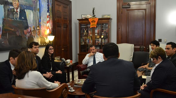 U.S. Sen. Ted Cruz, seated in center, meets with relatives of the 'Citgo Six,' who are representatives of Citgo being held in Venezuela on April 2, 2019.