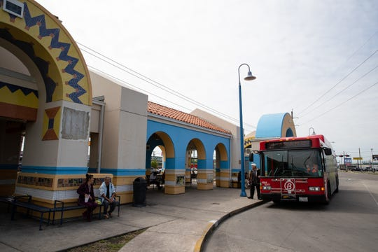 People bored a bus at the Corpus Christi Regional Transportation Authority's Port Ayers Station on Tuesday, April 2, 2019. The CCRTA has plans for a new Port Ayers bus station on the site of the Kleberg Bank building at 4311 Ayers Street.
