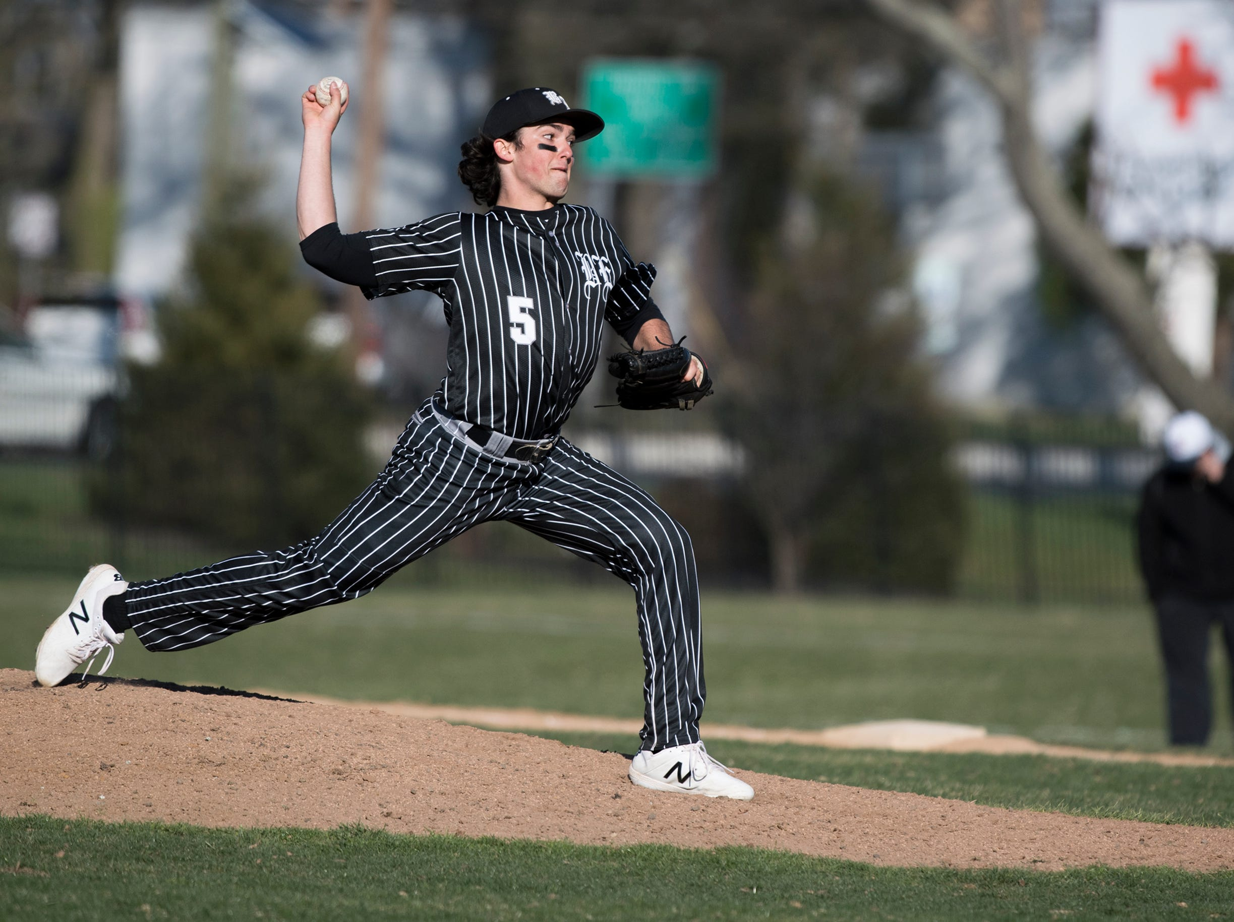Bishop Eustace's Matt Orlando (5) pitches against Eastern Monday, April 1, 2019 in Pennsauken. Eustace won 12-0.