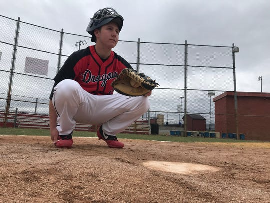 Kingsway's Josh Crowding is giving up reps at catcher this spring to help fill at first base for the Dragons.