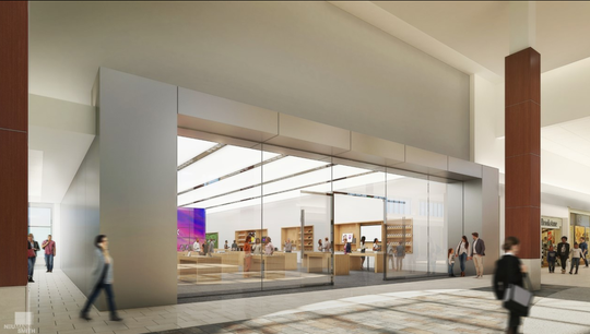 A rendering shows a proposed 'flagship' store for an unidentified tenant at Cherry Hill Mall.