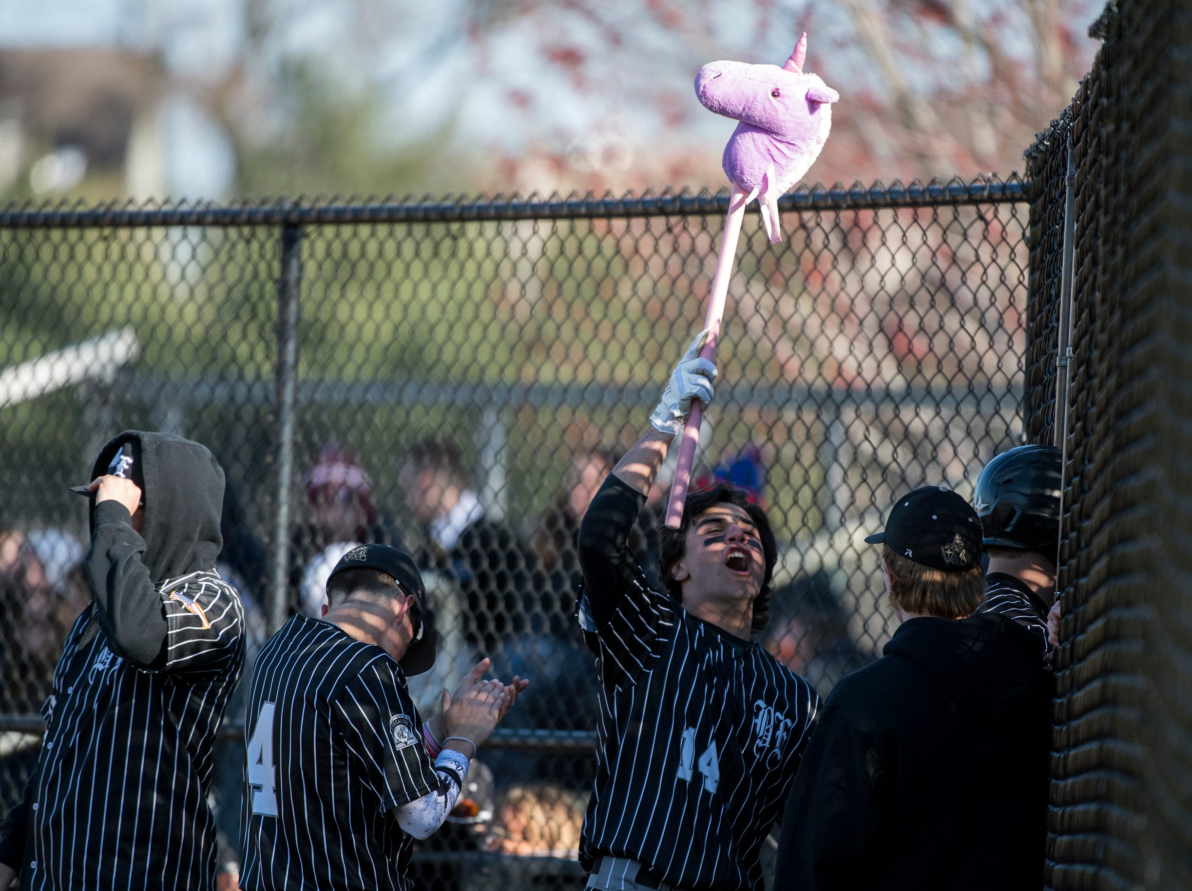 Bishop Eustace's John Piacentino (14) celebrates with the team's unicorn during a game against Eastern Monday, April 1, 2019 in Pennsauken. Eustace won 12-0.