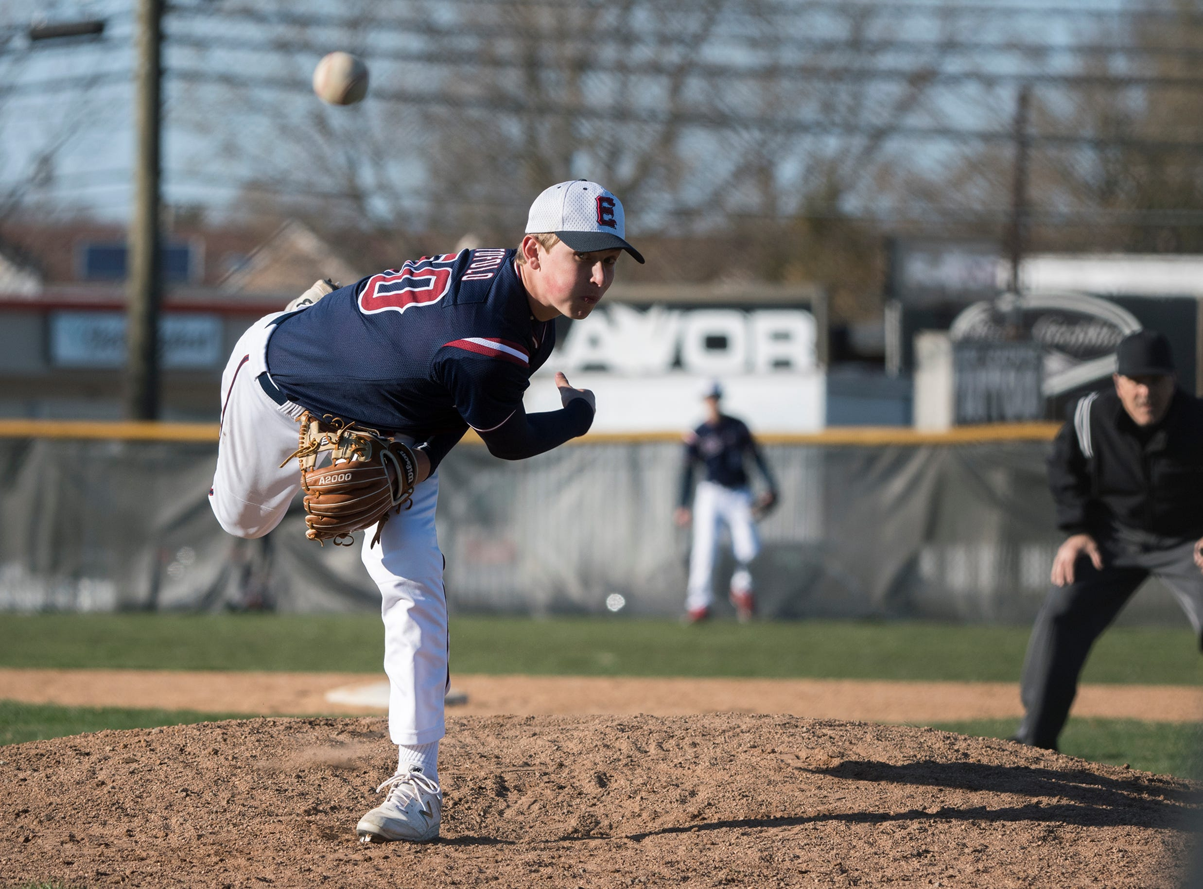Eastern's Andrew Tofolo (50) pitches on Opening Day against Bishop Eustace Monday, April 1, 2019 in Pennsauken. Eustace won 12-0.