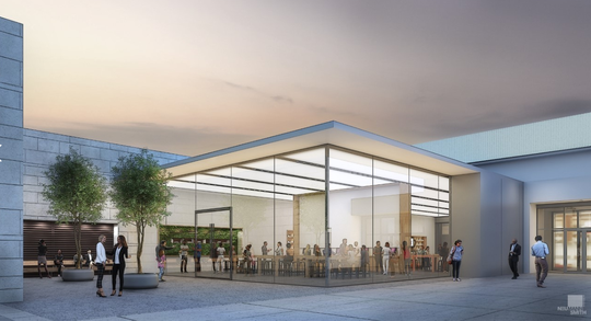 A rendering shows a courtyard outside a proposed 'flagship' store for an unidentified Cherry Hill Mall tenant.