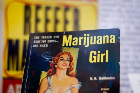 """By the 1930s, cannabis gained criminal and racial associations illustrated at """"Through the Rx Bottle,"""" a history of medicinal cannabis at the Lloyd Library and Museum. The government's criminalization of cannabis was formalized with the Marihauana Tax Act of 1937."""