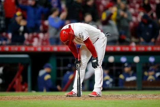 Cincinnati Reds right fielder Yasiel Puig (66) fouls out for the final out of the MLB National League game between the Cincinnati Reds and the Milwaukee Brewers at Great American Ball Park in downtown Cincinnati on Monday, April 1, 2019. The Reds fell 4-3 in the series opener.