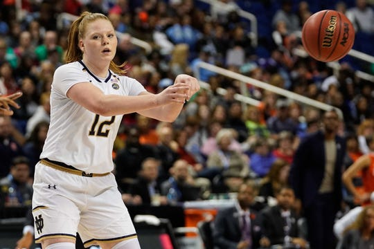 Notre Dame Fighting Irish guard Abby Prohaska (12) passes off to a teammate against the Syracuse Orange during the second half in the women's ACC Conference Tournament at Greensboro Coliseum on March 9.