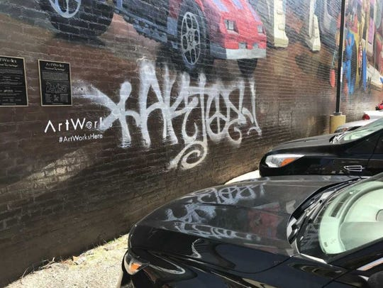 Cincinnati Toy Heritage mural downtown was defaced the weekend of March 30, 2019.