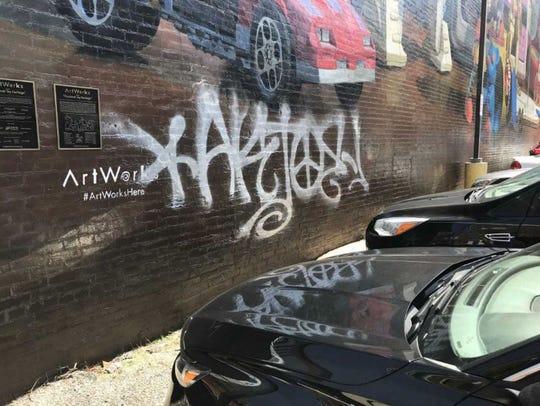 Cincinnati Toy Heritage mural downtown was defaced the weekend of March 30, 2019.
