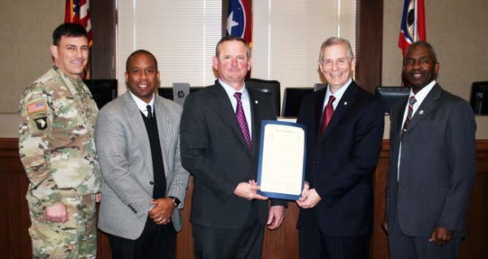 Mayors Jim Durrett and Joe Pitts (holding proclamation) were joined Monday at the 2020 Census kickoff ceremony by, from left,  Col. Joseph Kuchen, Fort Campbell Garrison Commander;  CMCSS Schools Director Millard House; and retired Lt. Gen. Ronald Bailey, APSU vice president for external affairs.