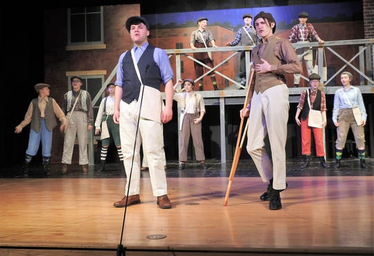 "Harrison Orand and Trevor Hawkins are featured in ""Newsies"" playing this weekend at Ridgewood High School."