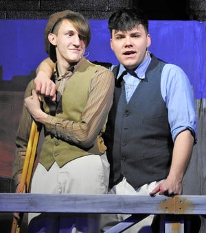 """Trevor Hawkins and Harrison Orand in a scene from """"Newsies"""" play this weekend at Ridgewood High School. The Broadway musical is based on the 1992 film starring Christian Bale."""