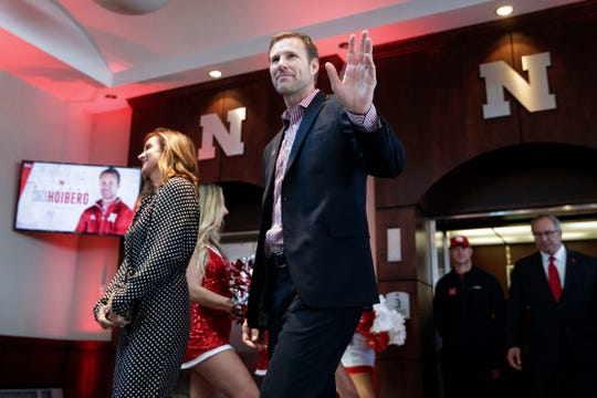Fred Hoiberg arrives for a press conference, Tuesday, April 2, 2019 in Lincoln, Neb. The University of Nebraska introduced Fred Hoiberg as its new men's basketball coach. Fred Hoiberg, the former NBA player who coached Iowa State and the Chicago Bulls, was hired to coach a Nebraska team that had big hopes this season but finished with a 19-17 record and out of the NCAA Tournament yet again.