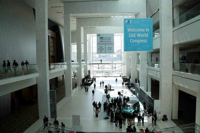 The SAE World Congress on Tuesday, April 12, 2016 at Cobo Center in Detroit, MI. The event brings thousands to the city annually.