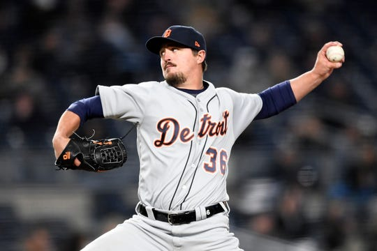 Detroit Tigers' Blaine Hardy pitches at Yankee Stadium on April 1, 2019 in New York.