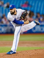 Toronto Blue Jays' Matt Shoemaker pitches to the Detroit Tigers during the second inning Friday, March 29, 2019 in Toronto.