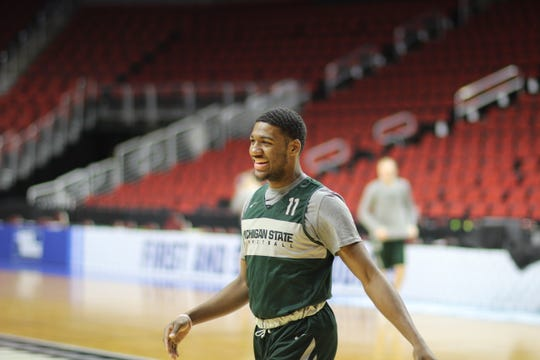 This photo was taken by injured MSU player, Joshua Langford of teammate, freshman Aaron Henry during a closed practice before the second round of the NCAA Tournament.